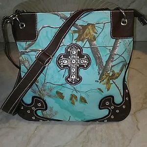 Cross Camo Shoulder bag Light Blue Crossbody Purse